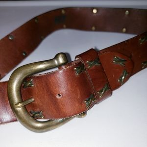 EXPRESS WESTERN LEATHER BELT X RIVETS DESIGN Sz 28